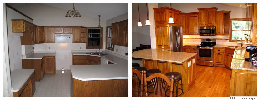 Remodeling before and after photos of home exterior and for Before and after pictures of remodeled kitchens