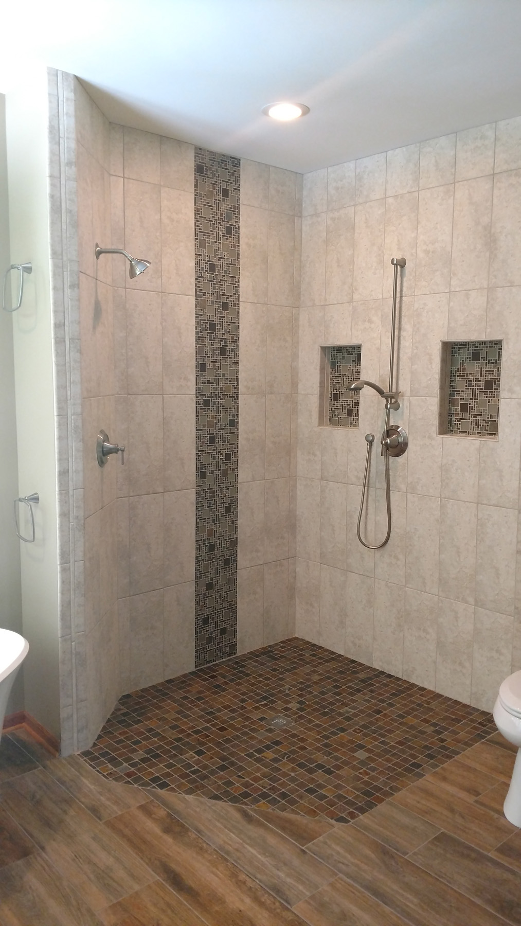 Maplewood Master Bathroom Remodel Roll In Shower