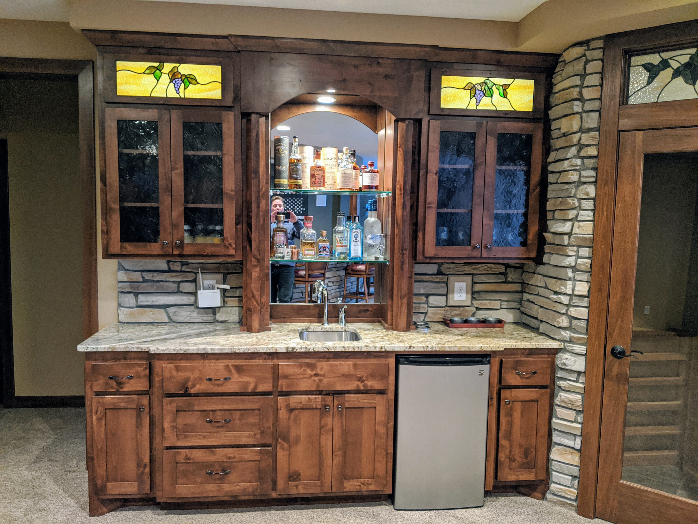 Lower Level Wet Bar with stained glass