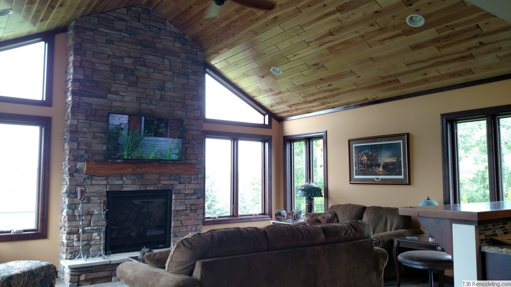 Grand Fireplace W Vaulted Ceilings Beams Open Floor: Four Season Porches, Remodels
